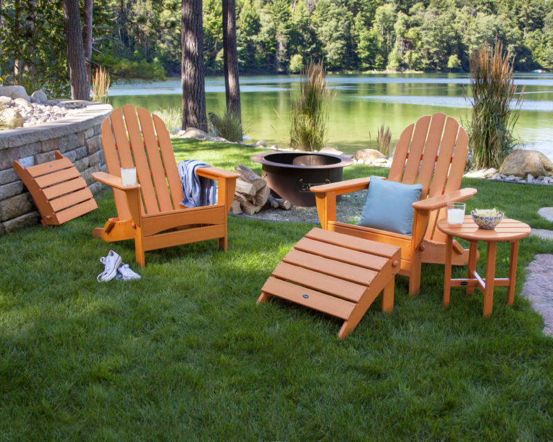 Classic Oversized Adirondack Chairs | Round 18u2033 Side Table